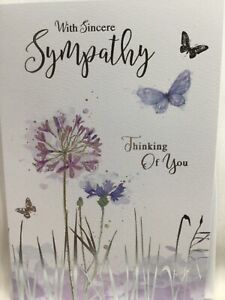 With Sincere Sympathy Card - Thinking of you with Flowers and Butterflies