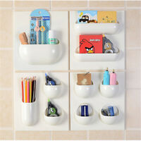 Hanging Kitchen Bathroom Storage Rack Shelf Container Wall Paste Organizer