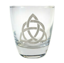 Celtic Trinity Knot Clear Lowball Rocks Glass 10oz, Free Personalized Engraving