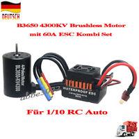 Waterproof  B3650 4300KV Brushless Motor mit 60A ESC Kombi Set für 1/10 RC Auto