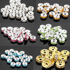 Top Quality 100Pcs Crystal Rhinestone Silver Plated Rondelle Spacer Beads 6mm