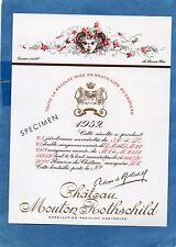 PAUILLAC 1EGCC ETIQUETTE CHATEAU MOUTON ROTHSCHILD 1952 73 CL DECOREE §06/02/17§