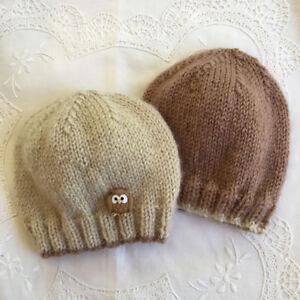 * 2 New Born Plus * Baby Beanies * (Warm) * Brown/Beige * Aust Hand Knitted