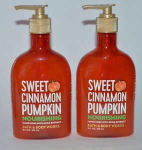 2 BATH & BODY WORKS SWEET CINNAMON PUMPKIN NOURISHING HAND SOAP WASH SHEA 8OZ