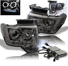 2009-2014 FORD F-150 SMOKE PROJECTOR HALO LED DRL HEADLIGHT W/8000K HID LAMP SET