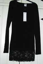 BNWT Vero Moda black tunic dress lace detail at hem clubbing size S (UK8)