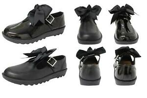 NEW GIRLS BLACK SCHOOL PATENT PU BOW ANKLE STRAP MARY JANE SHOES