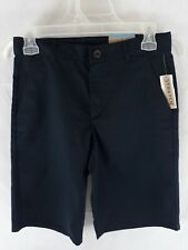 Dockers Boys School Uniform Shorts Navy Blue Flat Front Adjustable Waist Size 14