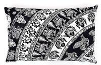 Schwarz & Weiß Elefant Mandala Kissenbezüge Indisch Kissenbezug Baumwolle Kissen