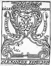 EX-LIBRIS d'Alexandre Joseph FAMECHON. Flandre.