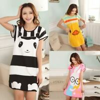Women Lady Pajamas Sets Summer Short Sleeve Cartoon Print Loose Sleepwear Cotton