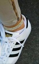 Adjustable Gold Plated 5 Row Crystal Rhinestone Stretch Chain Anklet Bracelet