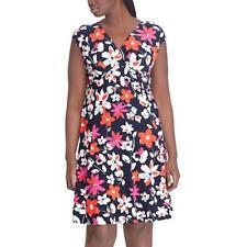 05b71505d9 Chaps Blue Pink Red White Floral Empire Faux Wrap Dress Plus Sz 18w