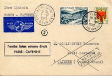 SUR CARTE 1° LIAISON AERIENNE PARIS CAYENNE 1949