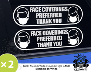 FACE COVERING MASK PREFERRED Sticker Restaurant Shop Window Taxi Stickers COLOUR