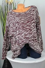 GR:42-48 OVERSIZE  PULLOVER  STRICK PULLI  ZICK ZACK MUSTER  ITALY BORDEAUX/WEIß