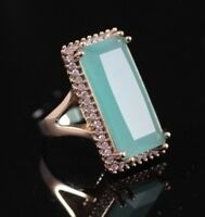 925 Sterling Silver Handmade Authentic Turkish Aqua Marine Ladies Ring Size 9