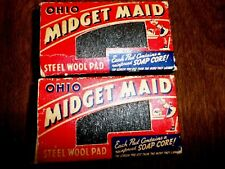 VINTAGE OHIO MIDGET MAID STEEL WOOL PADS MADE IN THE USA. NIB IN EXCELLENT SHAPE