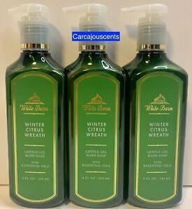 Bath & Body Works White Barn Winter Citrus Wreath Gentle Gel Hand Soap set of 3