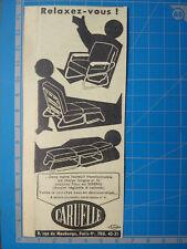 FAUTEUIL TRANSFORMABLE LIT CARUELLE  publicité ancienne 1954