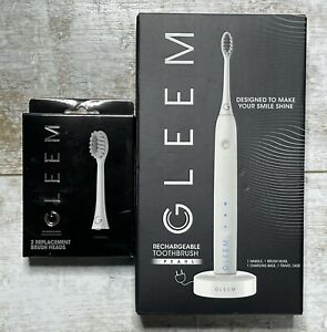 NEW Gleem Rechargeable Electric Toothbrush Pearl White + 2 Pack Brush Heads