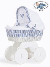 My Sweet Baby - Marina White Wicker Crib Moses Basket - Blue