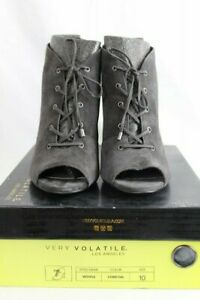 Very Volatile Women's Wishful Boots Open Toe Shoes Size 10 Charcoal Grey New