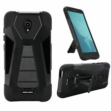 For Alcatel Raven LTE A574BL Hybrid Phone Cover Case with Kickstand - Black