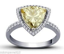 Canary Yellow Cubic Zirconia Trillion Shaped Solitaire Ring With Pave Set Size 6