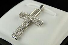 10K Mens Ladies Mini Diamond Cross Charm Pendant .25 Ct