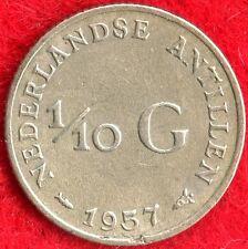 NETHERLANDS ANTILLES - 1/10 GULDEN - 1957 - 64% SILVER - 0.0288 ASW