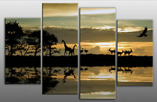 EXTRA LARGE AFRICA SUNSET SPLIT CANVAS ART PICTURE 5 FT