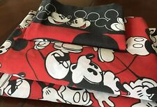 Disney Mickey Mouse twin sheet Bedding set W PillowCase Red & Black Fabric Vtg