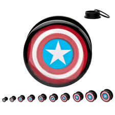"PAIR-Captain America Black Acrylic Screw On Plugs 14mm9/16"" Gauge Body Jewelry"