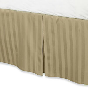 """Taupe Luxury Bed Skirt: 100% Egyptian Cotton, 500 Thread Count, 15"""" Drop"""