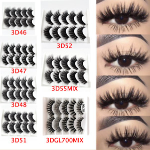 💙NEW 10Pair 3D Mink False Eyelashes Wispy Cross Long Thick Soft Fake Eye Lashes