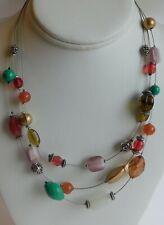 "LIa Sophia Art Glass Beaded Multi Strand Necklace 17"""