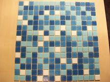 20 x SHEETS OF VITREOUS GLASS MOSAIC TILES BLUE & WHITE MIX