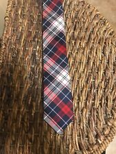 NEW EXPRESS Men's  Tie ~ MRP $49.50 Navy And Red Plaid NWT