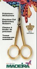 Madeira 22ct chapado en oro rectas Precisión corte tijeras de bordado 12cm