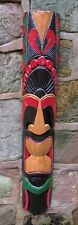 Tiki mask wall hanging hand painted carved wall mask 100cm