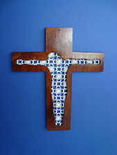 HANDMADE WOODEN CROSS WALL HANGING WITH LACE INSET,UNIQUE DESIGN,PERFECT GIFT