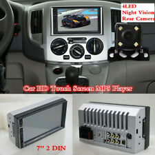 HD Touch Screen MP5 Player Head Unit 7'' 2 DIN + Rear Camera 4LED Night Vision