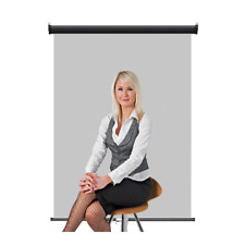 "Retractable Photo Backdrop Black Casing, 36"" x 48"" - GREY for ID Badge Card"