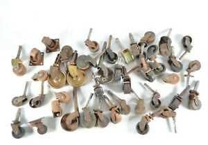 """Antique Wooden & Iron Caster Wheels 1"""" to 2"""" for Table Chair Trunk Bed Lot of 36"""