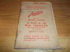 Austin Lorry 3 Ton 6x4 WD Vehicles List of Spare Parts 1944 General Service Body