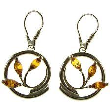 Baltic Amber Sterling Silver 925 Drop Dangling Hoops Flower Earrings Jewellery