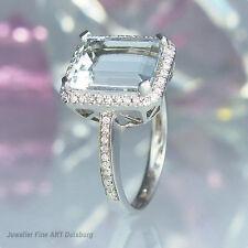 Ring in 750/- Weißgold, 1 Aquamarin 2,64 ct., 56 Diamanten 0,21 ct. W/Si NEU