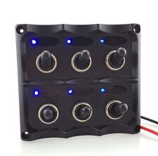 Blue LED 6 Gang ON-OFF Car Marine Boat Toggle Switch Panel Waterproof Fuse 12V