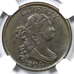 1804 C-8 NGC AU 55 Spiked Chin Draped Bust Half Cent Coin 1/2c